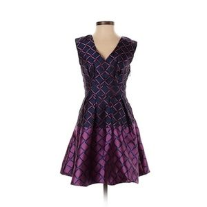 Eshakti Purple Printed Pleated Satin Dress